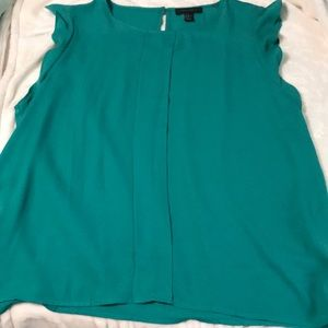 Teal blouse with flutter sleeves